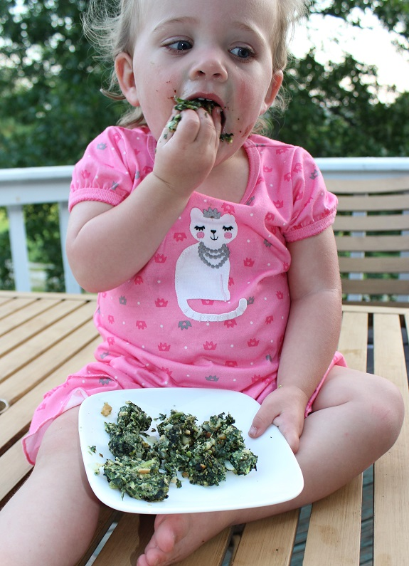 emme eating spinach ball resized